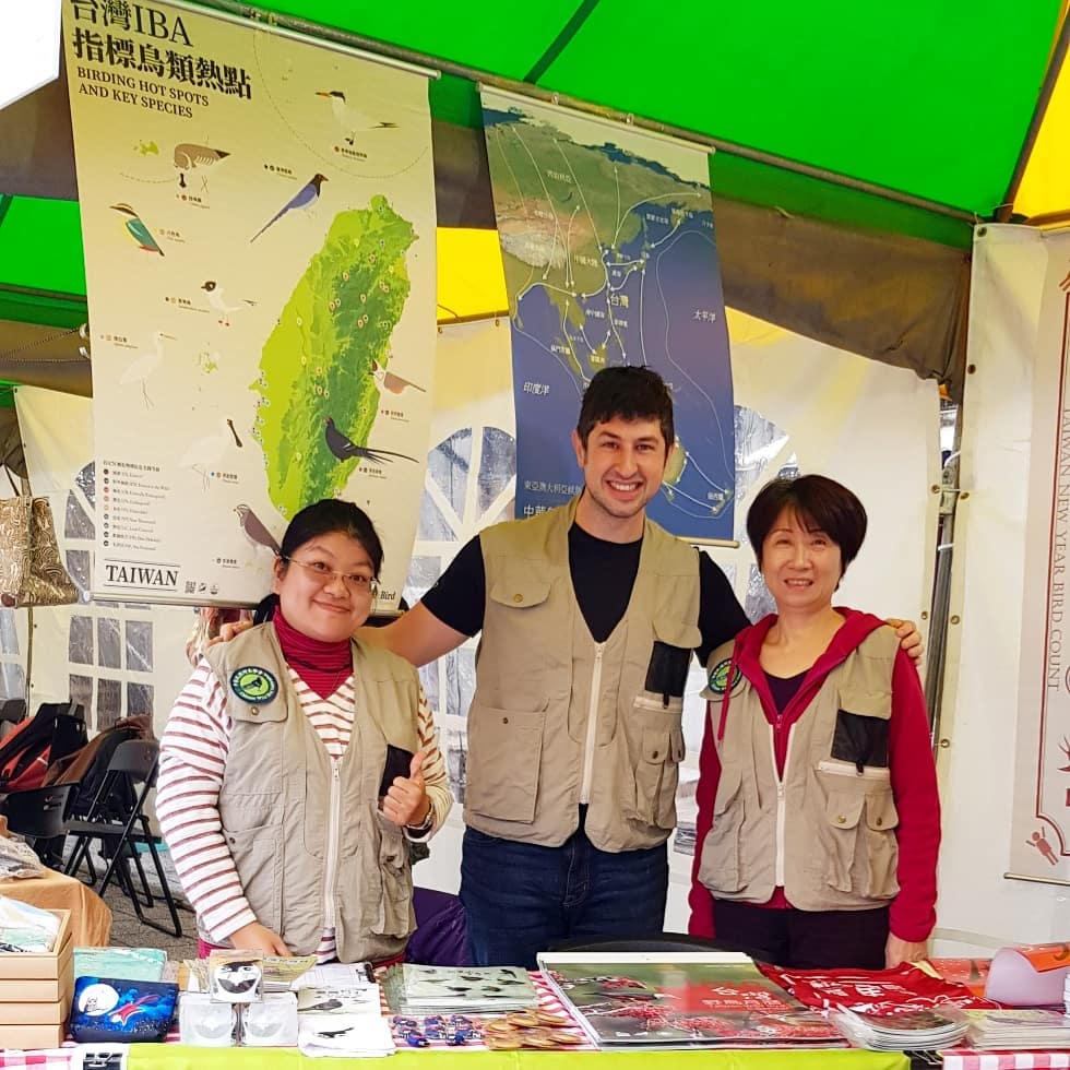 Scott Pursner during an outreach activity with co workers Bella Chiou and Sandy Lin