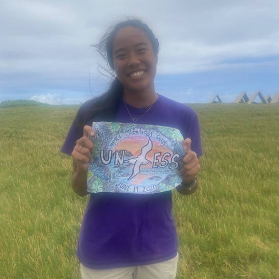 Pacific Rim Conservation interns practice social distancing to display their World Albatross Day art