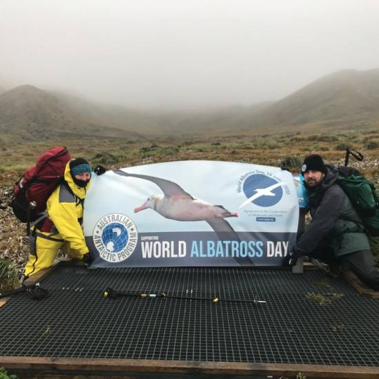 Australia displays World Albatross Day banners on sub-Antarctic Macquarie Island